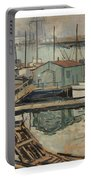 Walter  E  Schofield 1867-1944 Dock With Shed Portable Battery Charger