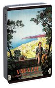 Warazze, Savona, Italy, Woman On Hotel Terrace Portable Battery Charger