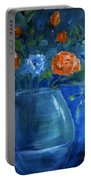 Warm Blue Floral Embrace Painting Portable Battery Charger