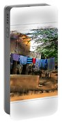 Washing Line And Cows Indian Village Rajasthani 1b Portable Battery Charger