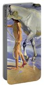 Washing The Horse Portable Battery Charger by Joaquin Sorolla y Bastida
