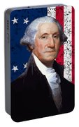Washington And The American Flag Portable Battery Charger