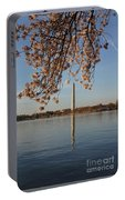 Washington Monument With Cherry Blossoms Portable Battery Charger
