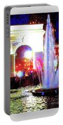 Washington Square Fountain At Night 11b Portable Battery Charger