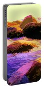 Water Color Like Rocks In Ocean At Sunset Portable Battery Charger