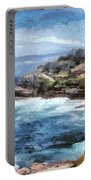 Water Cove With Rocky Cliffs Portable Battery Charger