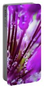 Water Droplets And Purple Flower Portable Battery Charger