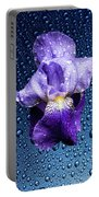 Water Drops On Purple Iris Portable Battery Charger