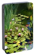 Water lilies and koi pond painting by elaine plesser for Portable koi pond