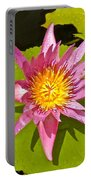 Water Lily After Rain 3 Portable Battery Charger