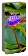 Water Lily In Tahiti Portable Battery Charger