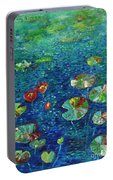 Water Lily Lotus Lily Pads Paintings Portable Battery Charger