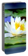Water Lily With Blue Border - Digital Painting Portable Battery Charger