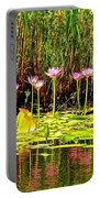 Water Reflecting Pinkish Waterlilies Portable Battery Charger