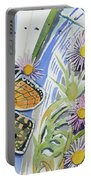 Watercolor - Checkerspot Butterfly With Wildflowers Portable Battery Charger by Cascade Colors