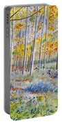 Watercolor - Colorado Autumn Forest And Landscape Portable Battery Charger
