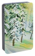 Watercolor - Colorado Winter Tranquility Portable Battery Charger