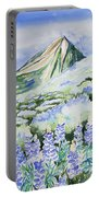 Watercolor - Crested Butte Lupine Landscape Portable Battery Charger by Cascade Colors