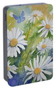 Watercolor - Daisies And Common Blue Butterflies Portable Battery Charger
