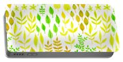 Watercolor Doodle Leaves Pattern White  Portable Battery Charger