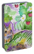 Watercolor - Field Mouse With Wild Strawberries Portable Battery Charger