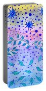 Watercolor Flowers And Leaves Portable Battery Charger