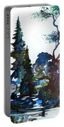 Watercolor Forest And Pond Portable Battery Charger