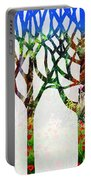 Watercolor Forest Silhouette Summer Portable Battery Charger
