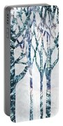 Watercolor Forest Silhouette Winter Portable Battery Charger