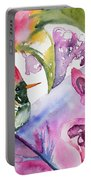 Watercolor - Frilled Coquette Hummingbird With Colorful Background Portable Battery Charger