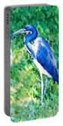 Watercolor Heron In Grass Portable Battery Charger