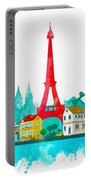Watercolor Illustration Of Paris Portable Battery Charger