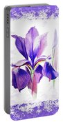 Watercolor Iris Painting Portable Battery Charger