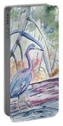 Watercolor - Little Blue Heron In Mangrove Forest Portable Battery Charger