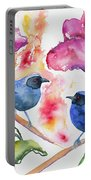 Watercolor - Masked Flowerpiercers With Flowers Portable Battery Charger