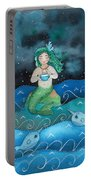 Watercolor Mermaid Feeding Her Narwhals Portable Battery Charger