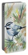 Watercolor - Mountain Chickadee And Pine Portable Battery Charger