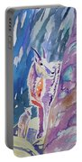 Watercolor - Mountain Goat With Young Portable Battery Charger