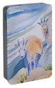 Watercolor - Mountain Goats On Quandary Portable Battery Charger