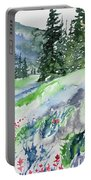 Watercolor - Mountain Pines And Indian Paintbrush Portable Battery Charger