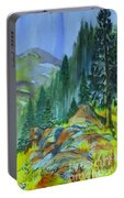 Watercolor Of Mountain Forest Portable Battery Charger