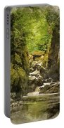 Watercolor Painting Of Beautiful Ethereal Landscape Of Deep Sided Gorge With Rock Walls And Stream F Portable Battery Charger