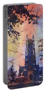 Watercolor Painting Of Duke Chapel On The Duke University Campus Portable Battery Charger