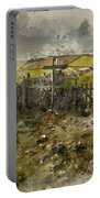 Watercolor Painting Of Public Footpath Signposts In Landscape In Portable Battery Charger