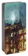 Watercolor Painting Of Spooky Houses At Night Portable Battery Charger