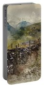 Watercolor Painting Of Stunning Landscape Of Chrome Hill And Parkhouse Hill Dragon's Back In Peak Di Portable Battery Charger