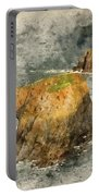 Watercolor Painting Of Stunning Sunrise Landscape Of Land's End In Cornwall England Portable Battery Charger