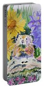 Watercolor - Pika With Wildflowers Portable Battery Charger by Cascade Colors