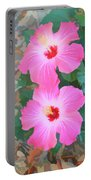 Watercolor Pink Hibiscus Blooms Vertical Portable Battery Charger