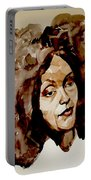 Watercolor Portrait Of A Woman With Bad Hair Day Portable Battery Charger